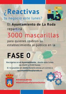 El Ayuntamiento distribuirá 3.000 mascarillas para quienes reactiven su negocio este lunes